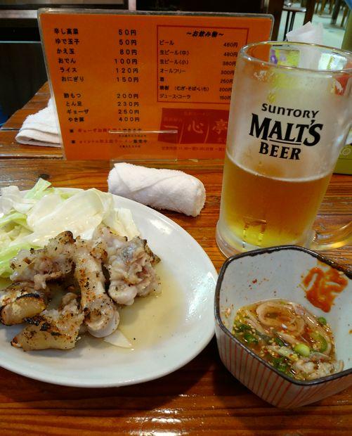 『長浜屋台 一心亭 本店』とん足・酢もつ・生ビール