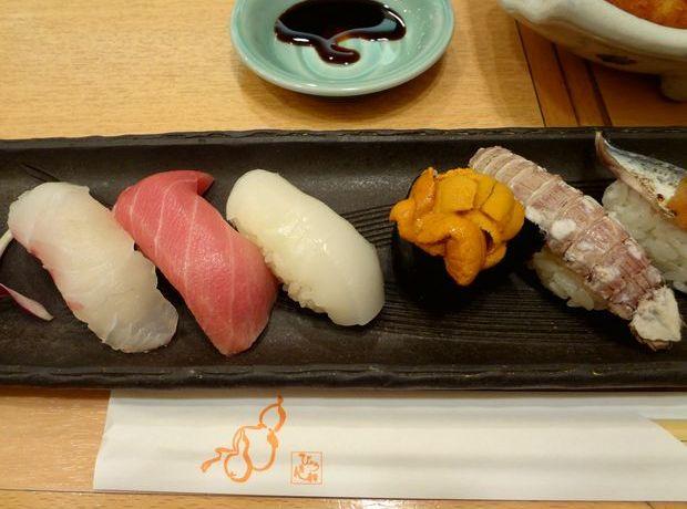 『ひょうたん寿司』旬のおまかせにぎりセット(握り寿司の一部・その1)