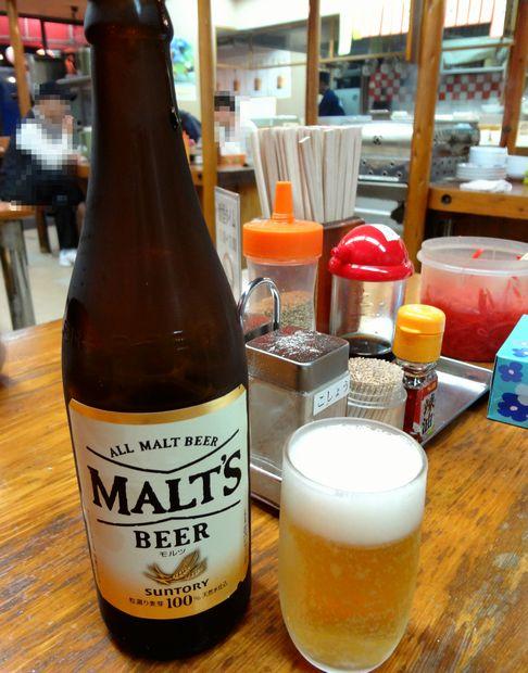 『長浜屋台 一心亭 本店』ビール(480円)