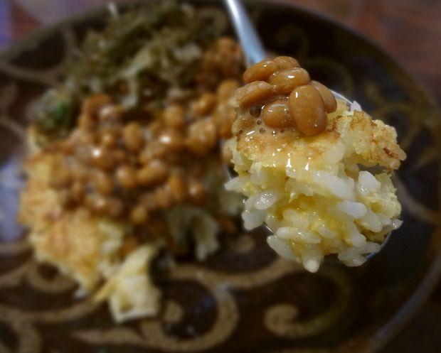 【自炊】焼き卵かけご飯・納豆二種がけ(一口リフト)