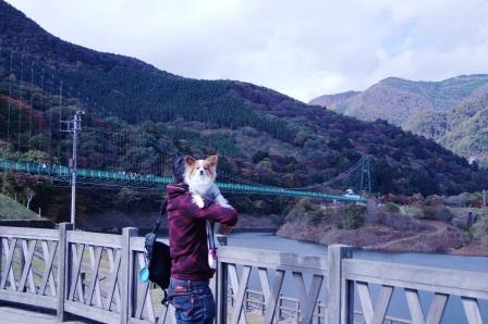 吊橋をバッグに記念写真