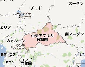 地図:中央アフリカ共和国