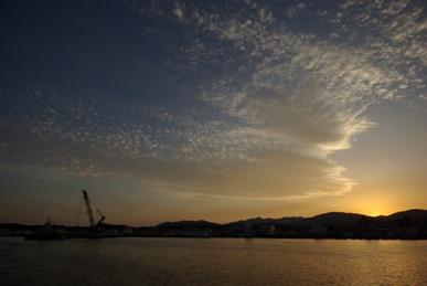 気仙沼港の夕焼け
