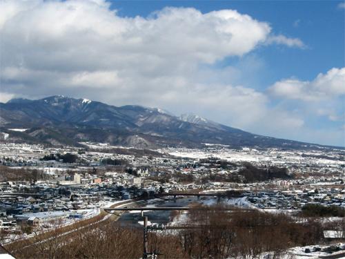 千曲川雪景色