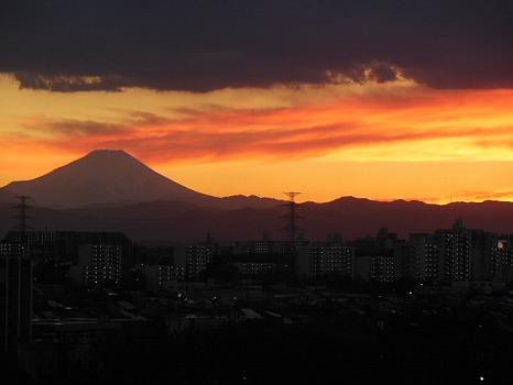 冬の夕焼け富士B