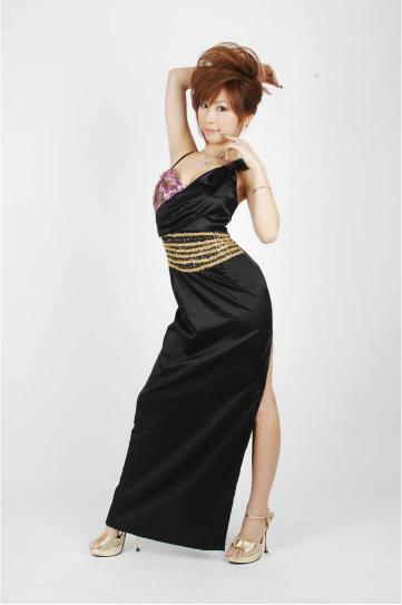 ゴールドライン☆ホルターリボン ロングドレス