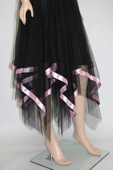 サテン☆イレギュラーヘム ミディアムドレス