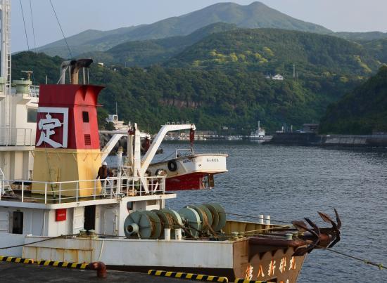 背景は波浮港と二子山