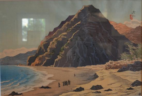 伊東深水 大島十二景(時得孝良氏蔵)展示中これは櫛の峰と行者窟