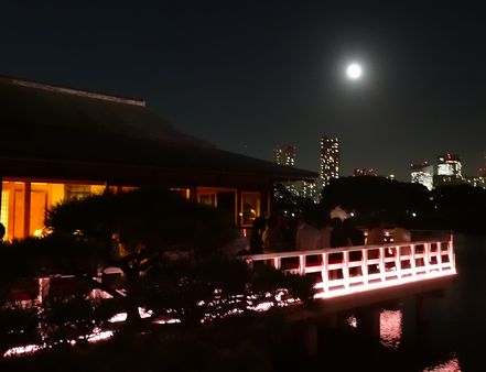 茶屋の上に見える月