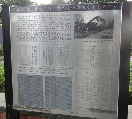 外人墓地の歴史の看板