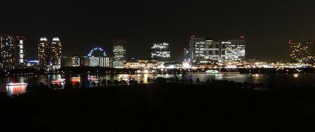 お台場海浜公園の全景、夜景