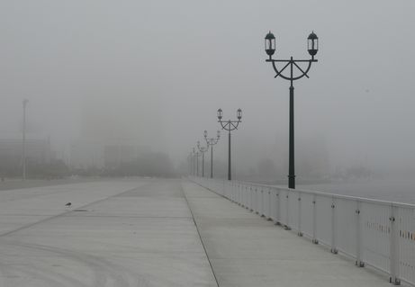 港では霧で、警笛
