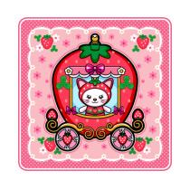 苺の馬車の苺猫 Tシャツ