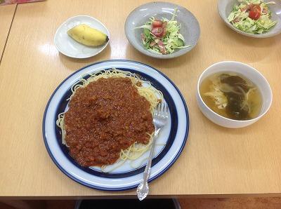20130502ミートソーススパゲティ&たまごスープ