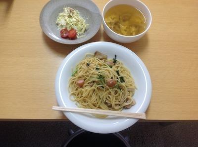 20130329和風パスタ&たまごスープ