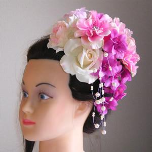 ピンクローズとデルフィニュームの結婚式髪飾り