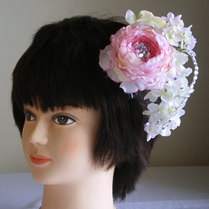 スワロフスキー入りラナキュラスと紫陽花の浴衣髪飾り