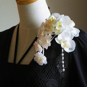 胡蝶蘭と桜の結婚式髪飾り