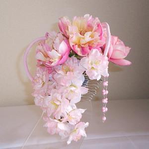シャクヤクと桜とマムの和装髪飾り