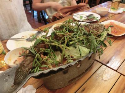 タイ20120628ガイヤーン屋台川魚煮込み
