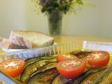 荻野さんの茄子、トマト、ぱん+夏子の花 切り抜き160×120
