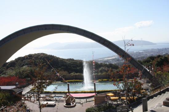 噴水と景色