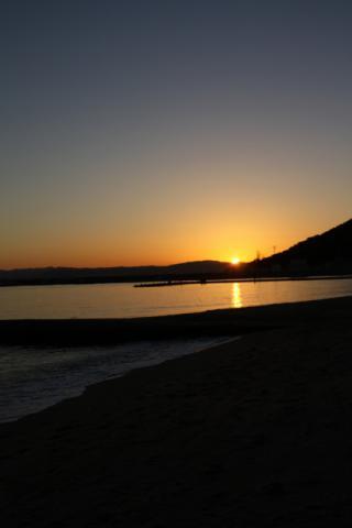 須磨海岸 沈む夕日