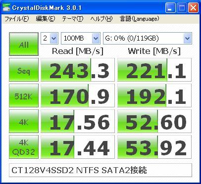 Crucial CT128V4SSD2 ベンチマーク CrystalDisk