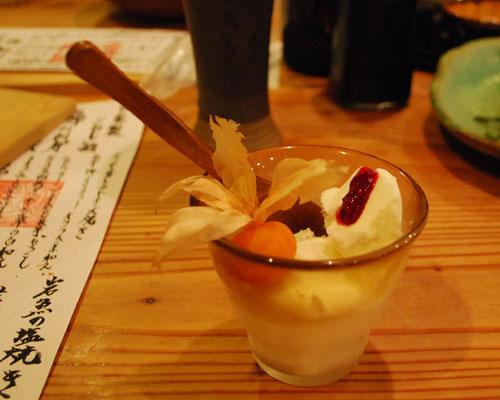 アイスクリームとほおずきの