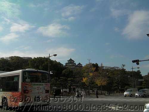 和歌山中央局前交差点から見た和歌山城天守閣