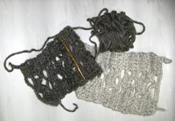 編み模様(あやめ)のマフラー作成途中