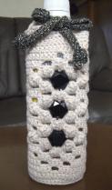 ペットボトルホルダー 白と白ラメの引き糸 花菱の変形 黒のビジューA-2