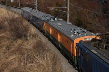 鉄道写真にチャレンジ!-配給輸送 EF64-1032 + クモヤ143系3両