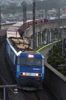 鉄道写真にチャレンジ!-中央本線 2082レ EH200-7 + コキ