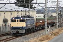 鉄道写真にチャレンジ!-工9861レ EF65-1107 + チキ4B(レール積載)