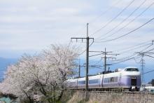 鉄道写真にチャレンジ!-E351系と桜 みどり湖