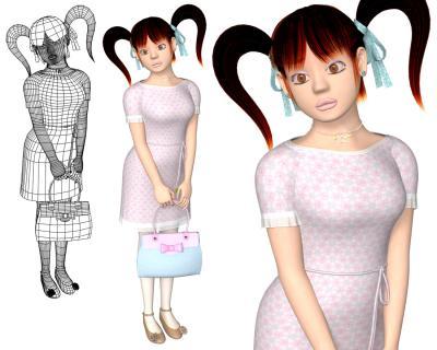 3Dキャラ衣類テクスチャ花柄