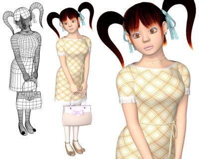 3Dキャラ衣類テクスチャ格子