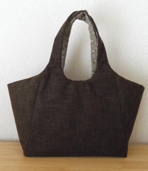 和風布の手縫いバッグ
