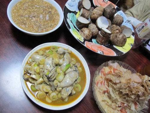 牡蠣のある晩ご飯