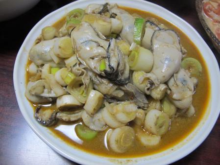 牡蠣のコチュジャン炒め