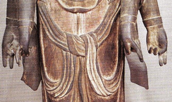 延命観音像(両前膊部に布状の鹿皮が表現される)