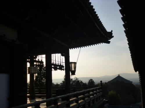 釣り灯篭が透けて見える向こうには,左に良弁杉,右に大仏殿の屋根