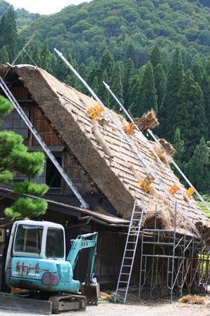 新しい茅葺き屋根