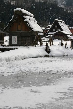 池は凍って