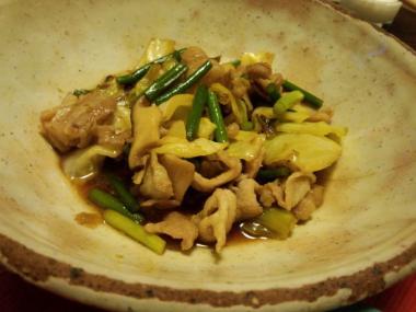 豚肉とにんにくの炒め物
