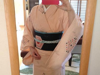 単衣 紬 ピンクの着物
