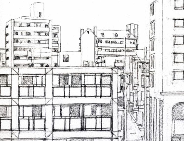 枚方駅前の風景 デッサン (750x576)