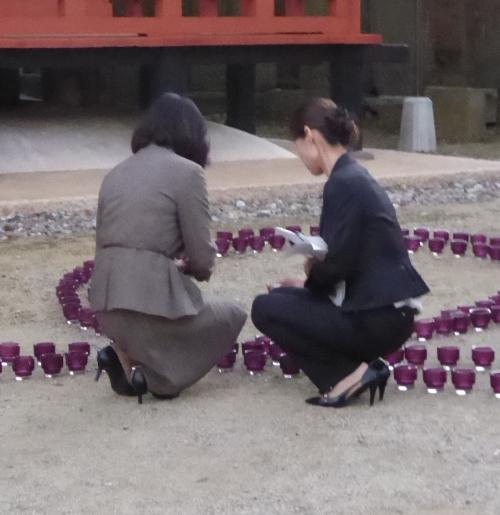慈尊院のピンクライトアップ2014-02
